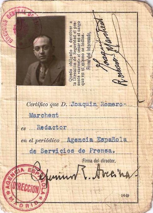 Carné de prensa de Joaquín Romero Marchent. 1920. Colección BF.