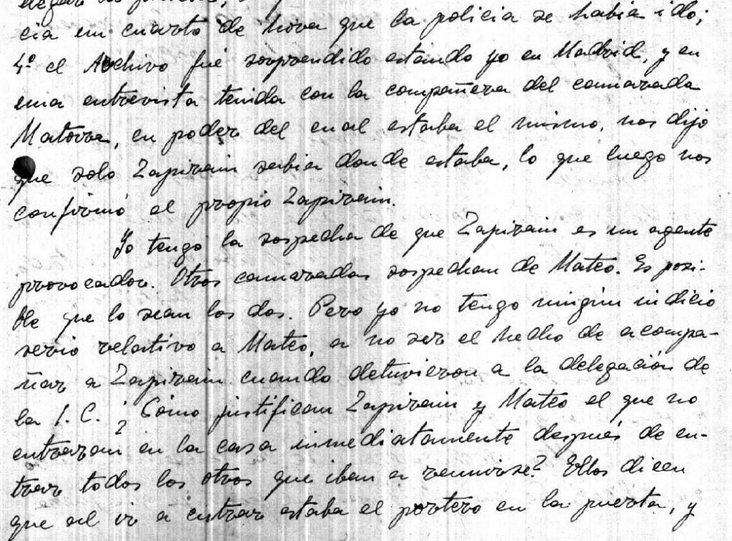 Declaración de Manuel Adame. Moscú, 29/09/1932