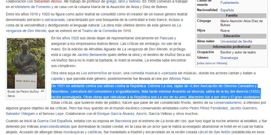Muñoz Seca en la Wkipedia